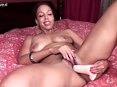 Mature mother with hungry hairy vagina