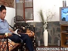 Having hot phone sex while crossdressing