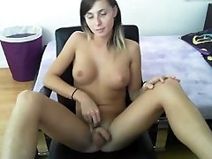 Solo Brunette T-Girl Sienna Grace Playing With Her Cock