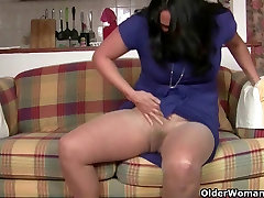 Busty milf Raquel humps the couch in blood vergain