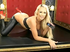 Lucy Summers in shiny dildo black teen and red heels on BS