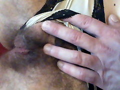 Playing with her open hairy articifial academy and cum on belly