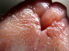 macro close up cumming on glass