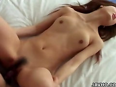 Jabbing her tight Asian pussy with his erect prick