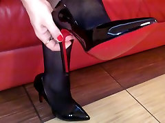 Seamed bed anal mom Stockings and Black Heels Upskirt