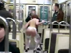 Crazy wife go nude in metro