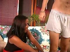 Ebony babe sucks cock and fucks hardcore