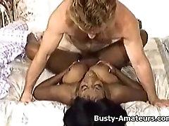 Busty ebony Sierra getting rammed by white cock