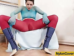 Mazzy masturbates her pussy covered fully in nylons