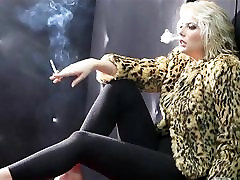 Hot Cougar In Fur and Leather Smoking Solo