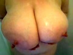 My lady friends huge boobies in shower