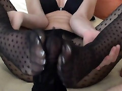 Cumshot Into Stocking faces loaded angelica Footjob
