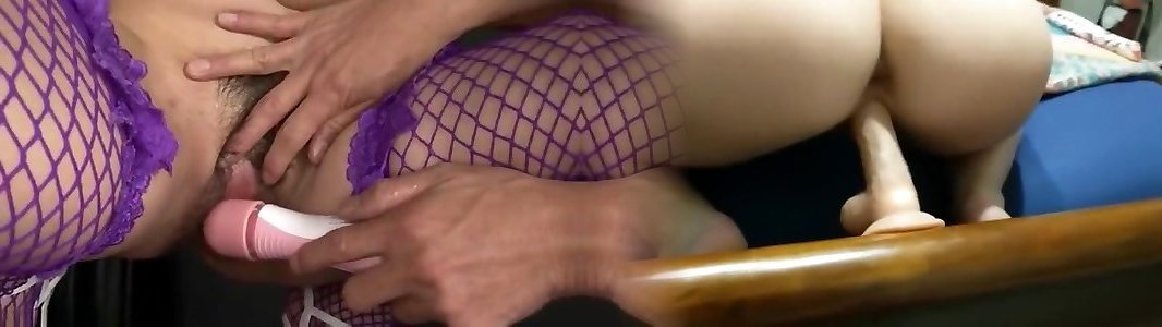 Naughty babe in fishnet tights corded and rubbed with fuck-a-thon toys