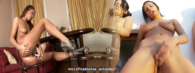 Super-cute steamy honey Abby tugging rock hard with a fuck-a-thon fucktoy