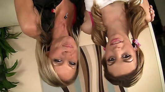 Sumptuous pornographic stars Sicily Grim and Nikki Charm in astounding light-haired, milf pornography clamp