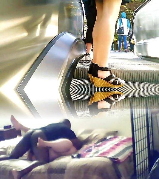 подняла меня на эскалаторе видео волосы под юбкой девушка меня