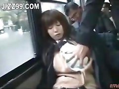 horny busty schoolgirl enjoys sex on bus