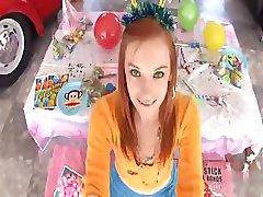 Redhead teen gives a good POV when she sucks and fucks cock