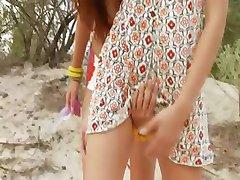 danish teens toying on the beach