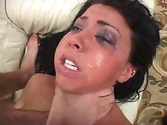 Screaming brunette rough anal
