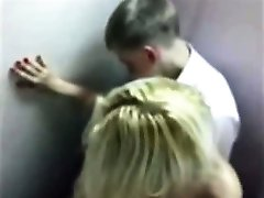 Cute blonde teen caught fucking in the bathroom at prom