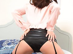 Czech model Kamila in black opaque stockings