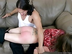 Cheeky housewife in shameful spanking frenzy - exposed ass well beaten