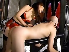 Horny stud takes spanking from a hot Asian