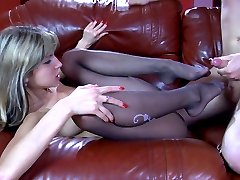 Yummy girl gets her tasty nyloned feet licked for a footjob and pussy fuck