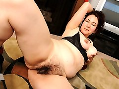 Hairy brunette gets her thick bush jizzed!