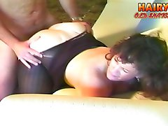 Fat mature gives a great blowjob then gets her hairy snatch stuffed with a dick