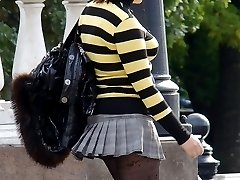 Busty slut voyeured. Pantyhose upskirts, and not only