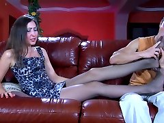 Leggy girl gets her sleek feet massaged for a nylon footjob and pussy fuck