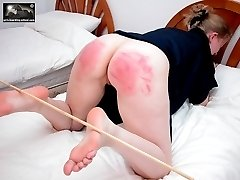 Hot slut shows her cunt and asshole whilst taking a beating - bright red cheeks