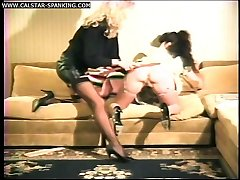 Office spanking for a filthy bitch in her stockings