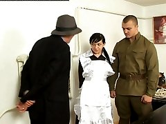 Beautiful russian girl is interrogated while being tied to a bench and brutally caned on her...