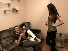 This is wild. These two horny teen sluts invited one of their guy friends over for a threesome....
