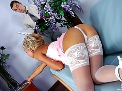 Dazzling blonde in luxury white stockings seducing a guy into hot butt play