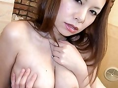 Hiromi Asian with big boobs licks hard boner and gets vibrator