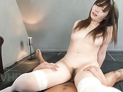 Haruka Oosawa Asian in stockings has cans sucked and rides woody