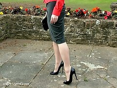 This cheeky girl loves to walk around out doors in her high heels