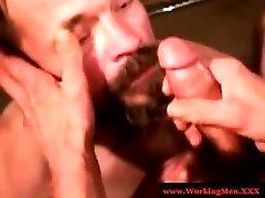 Hairy southern bear sucking hard cock