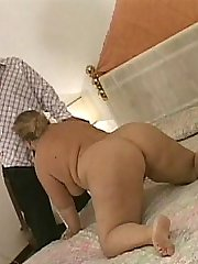 Taking some hard fucking on her knees