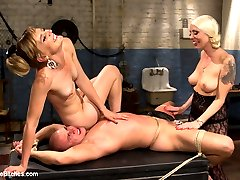 Lorelei Lee and Mona Wales drag disrespectful cat caller down to their dungeon to put him in his...