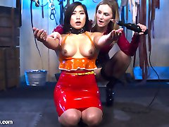 Mona Wales prepares an electro-smorgasbord of sensations for her new pet, Mia Li. Mia submits to the violet wand, spanking, bondage, electrified copper wire, the taser, smothering, and pussy licking. Proving she is worthy of her Mistress's attention, Mia gets finger banged, strap-on fucked, and fisted to multiple orgasms.