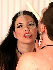Hot femme gives a stud a nasty ass waxing