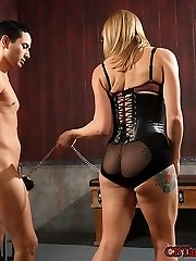 Adrianna Nicole breaks in a new slave for her first time on CBTandBallbusting.com. Having never...