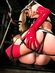 Latex clad Harmony Rose sinks her teeth into trussed up nomads hard, bound cock and he doesnt...