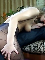 Naughty teaser gets her diamond print tights broken during wild shagging