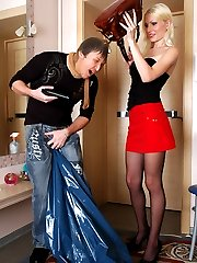 Caught red-handed guy ready to fulfil every desire of hottie in black hose